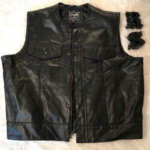 Genuine Leather Vest Sz XL Men Motorcycle